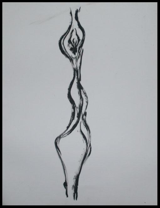 Lange Gestalt im Kreiseltanz, Öl auf Papier, 65x50cm