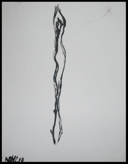 Lange Gestalt in Drehung, Öl auf Papier, 65x50cm