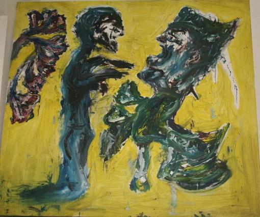 Benimm Dich!, Öl und Acryl auf Leinwand, 135x150