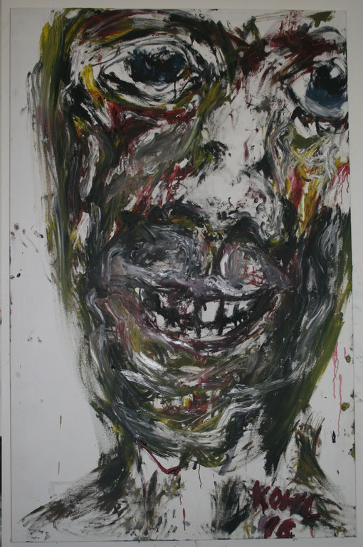 traurig lächelnd, Öl auf Leinwand, 115x180