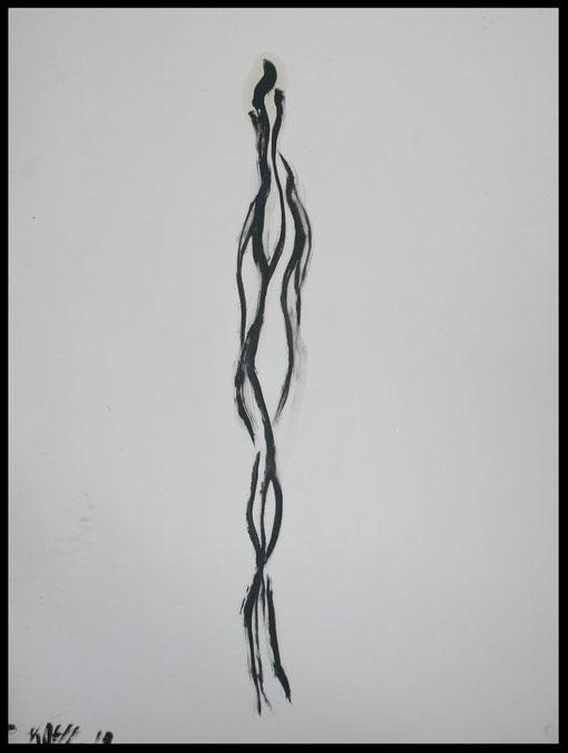 Lange Gestalt Grundhaltung, Öl auf Papier, 65x50cm