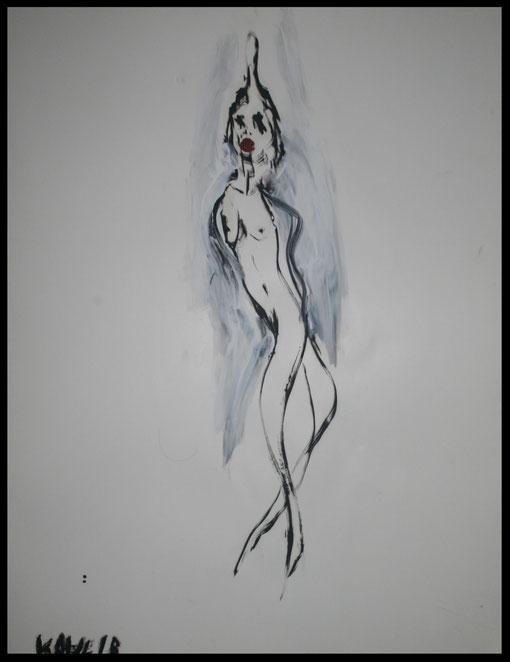 Lange schlanke Gestalt mit verborgenen Armen, Öl auf Papier, 65x50cm