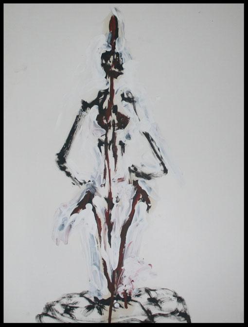 Lange Gestalt am Polster kniend, Öl auf Papier, 65x50cm