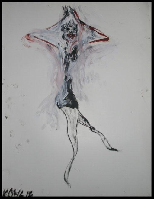 Lange Gestalt im Fasching tanzend, Öl auf Papier, 65x50cm