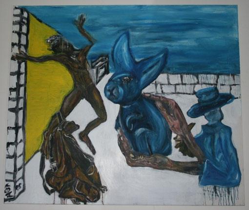 Der Gaukler und die Überraschung, Öl auf Leinwand, 135x150