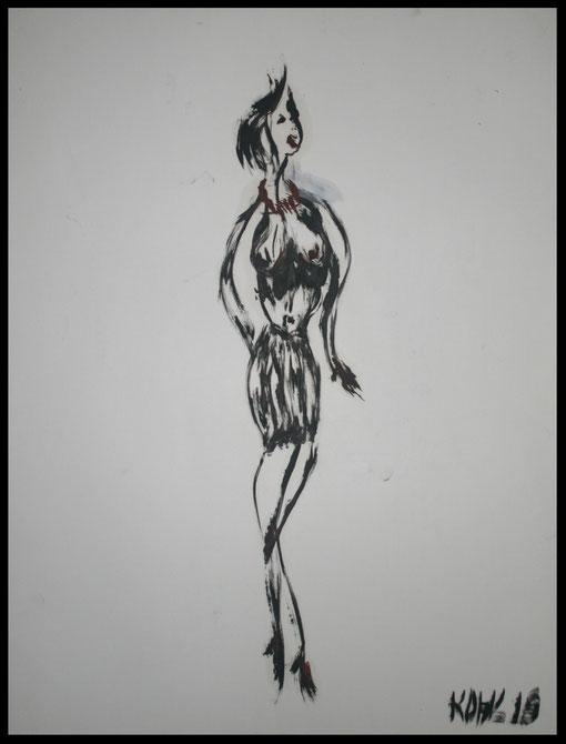 Lange Gestalt im Transparentkostüm, Öl auf Papier, 65x50cm