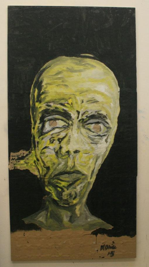 Eva fließt aus, 2015, Acryl auf Karton, 120x220