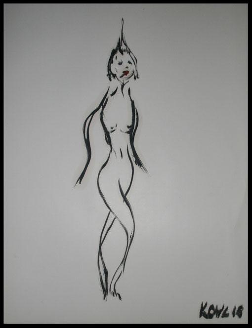 Lange Gestalt der 30er Jahre, Öl auf Papier, 65x50cm