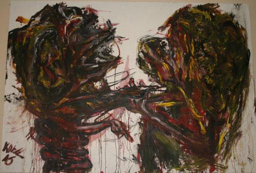 """""""Ich bin eine Landschaft"""" läßt sich nicht unterkriegen, Öl auf Leinwand, 150x180"""