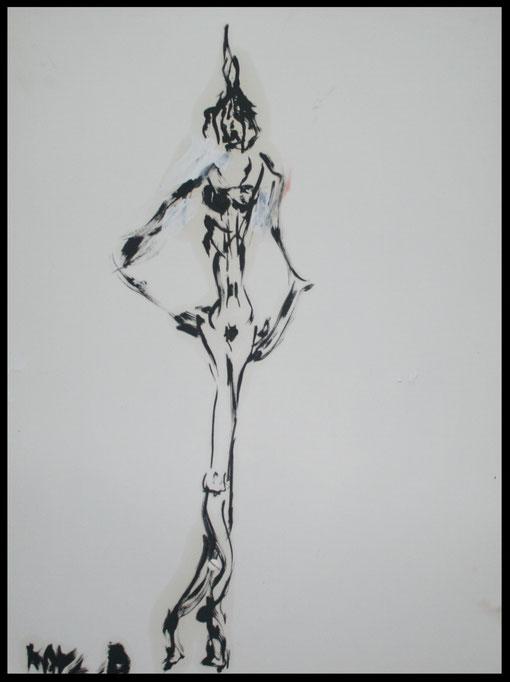 Lange Gestalt am Weg, Öl auf Papier, 65x50cm