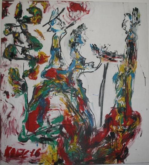 Das Geschenk, Acryl und Kohle auf Leinwand, 135x150 - verkauft