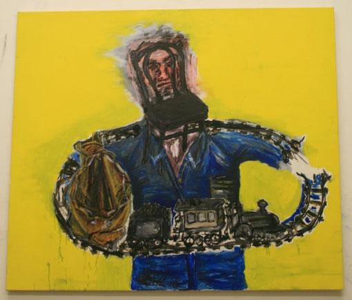 Unterbrechung mit Hintergrund, Öl und Acryl auf Leinwand, 150x150 - übermalt