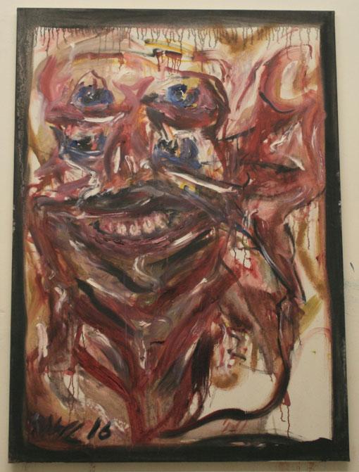 Frau, dem Manne durchs Gesicht steigend - durchaus aggressiv, Öl auf Leinwand, 100x150