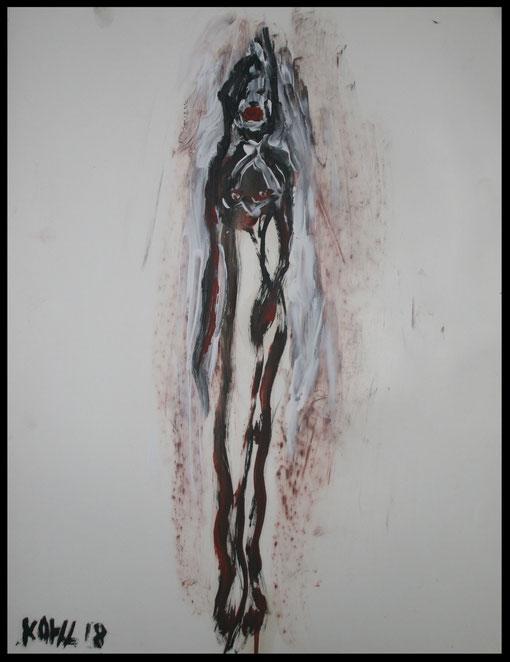 Lange Gestalt mit offenem Herzen, Öl auf Papier, 65x50cm