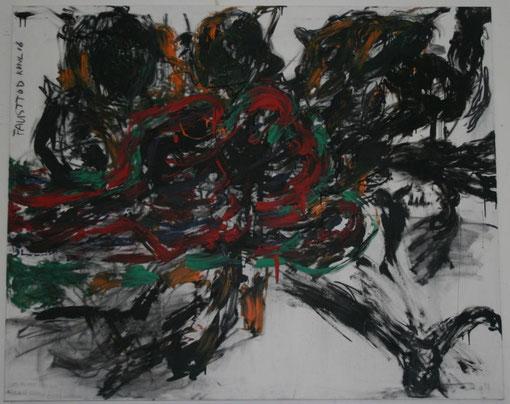 Fausttod, Kohle und Acryl auf Leinwand, 2016, 150x185