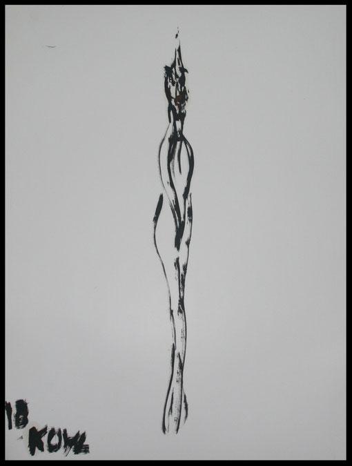 Lange Gestalt verschämt, Öl auf Papier, 65x50cm