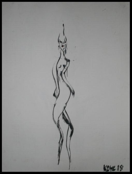 Lange Gestalt umwunden, Öl auf Papier, 65x50cm