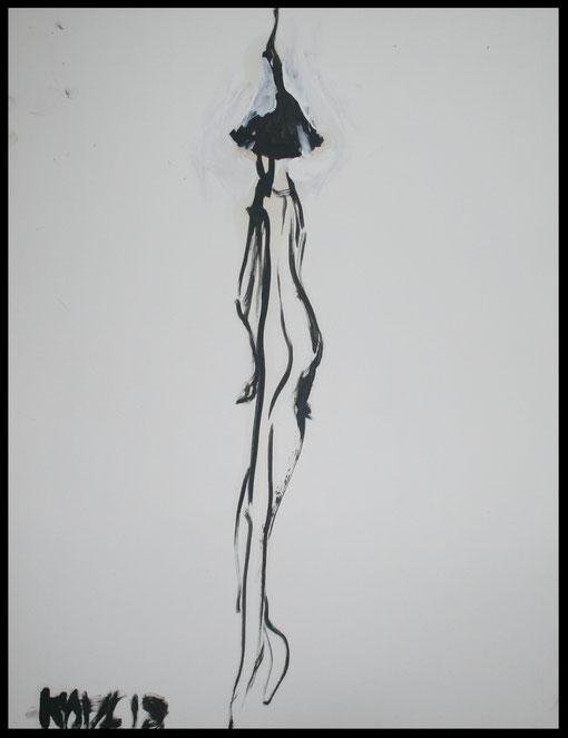 Lange Gestalt Rückenansicht, Öl auf Papier, 65x50cm