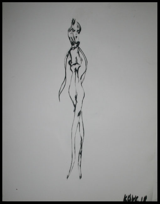 Lange elegante Gestalt, Öl auf Papier, 65x50cm