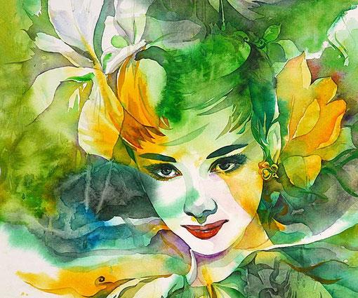 иллюстрация http://creativitea.org/inspiration/illustration/ryu-eunja-audrey-hepburn/