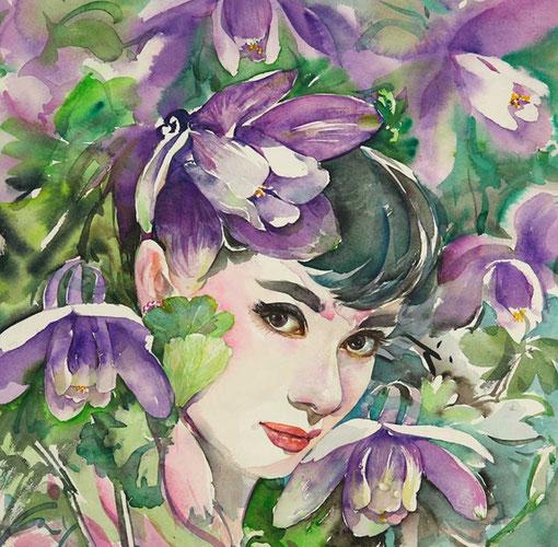 Рисунок Ryu Eunja – Audrey Hepburn