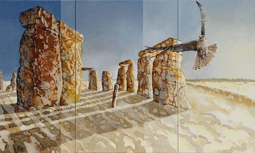 Daybreak at Stonehenge - oil with sand on canvas - 100 x 60 cm