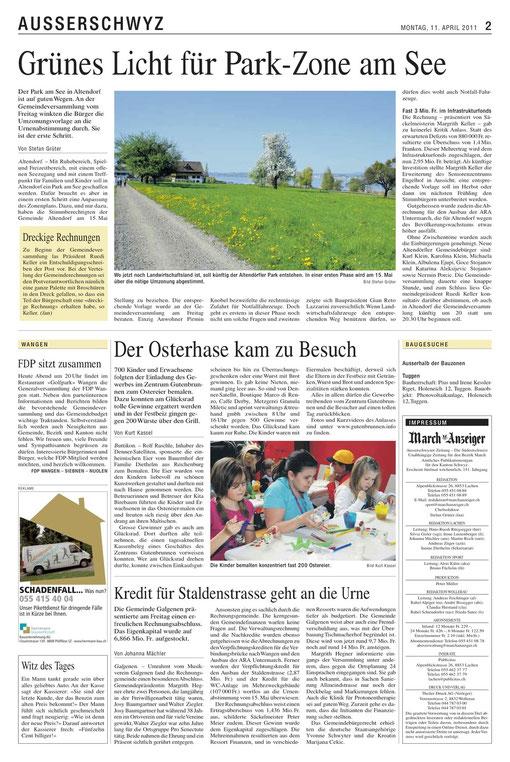 Der am 10.4.2011 im March-Anzeiger veröffentlichte Bericht von Kurt Kassel