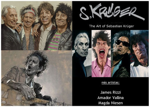 """Die """"Rolling Stones"""" - Arbeiten von Sebastian Krüger in der Galería K in Palma de Mallorca - weitere Künstler: James Rizzi, Amador Vallina, Magda Niesen"""