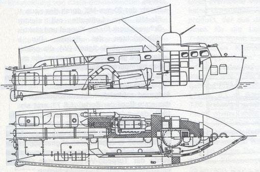 """""""LS-Boot"""" Seitenansicht und Grundriss - Bild aus Fock: """"Schnellboote Bd. 2"""""""
