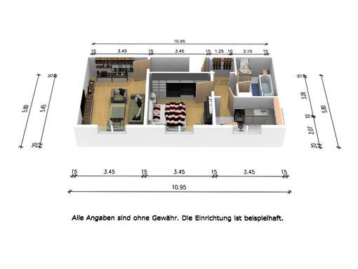 Grundrissbeispiel einer 2-Raum-Wohnung