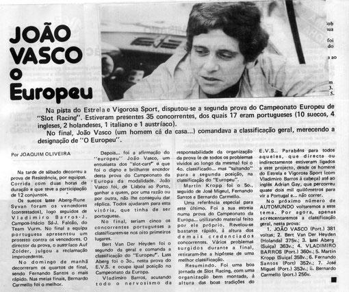 "Slot Porto 1983. Presse. João Vasco. Auto Mundo"" (nº 215, 13-07-1983)"