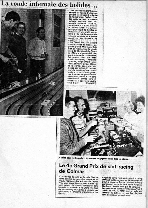 Le Grand Prix de slot racing de Colmar 1984 dans la presse régionale