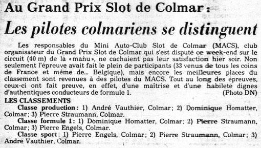 Grand prix de Colmar 1984 dans la presse régionale