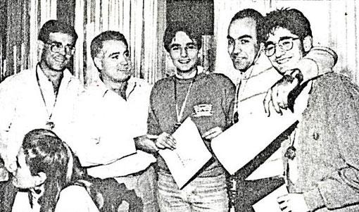 6 ième place pour l'équipe Cric-Crac d'Igualada - non identifié - Juan Basas - Ramon Guixà - José Rossinés - non identifié