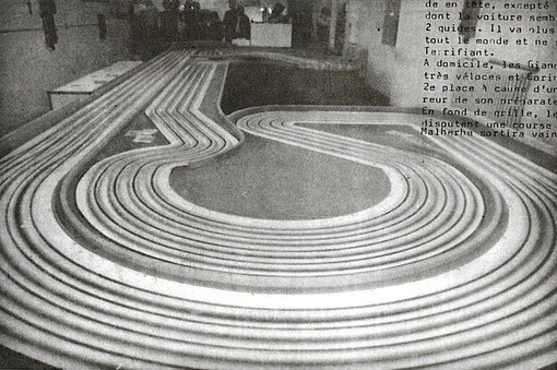 La piste de slot racing de Brescia lors du Grand Prix 1986 ( Photo : Gérard Caupène )