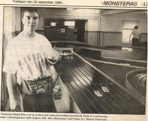 Ralph Klose en Suède à Mönsterås les 30 septembre 1 & 2 octobre 1988.