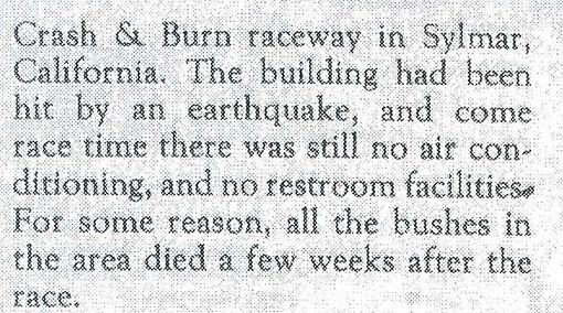 La course eut lieu après un tremblement de terre.