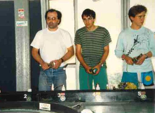 Frédéric Nivet, Fabien Bourrelly, Sébastien Guillon au Grand Prix de Bordeaux 1987