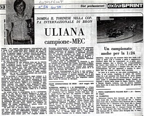 Slot 1979 Bron Coupe Inter. Revue AutoSprint n° 24  de juillet 1979.