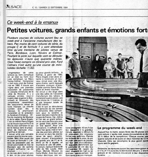 Presse régionale. Grand prix de Colmar Slot racing 1984