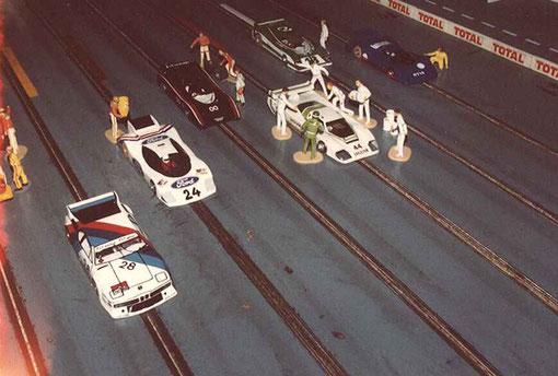 Six voitures arrivent sur la pré grille des 24 heures de Rouen 1986