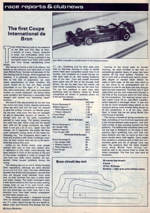 Slot 1979 Bron Coupe Inter Revue Auto Modeler Vol 1 n° 5 aoùt 1979 p 42