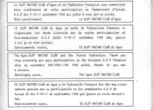 Merci aux slot-racers de cinq pays européens pour leur participation aux championnats d'europe à Agen en 1988