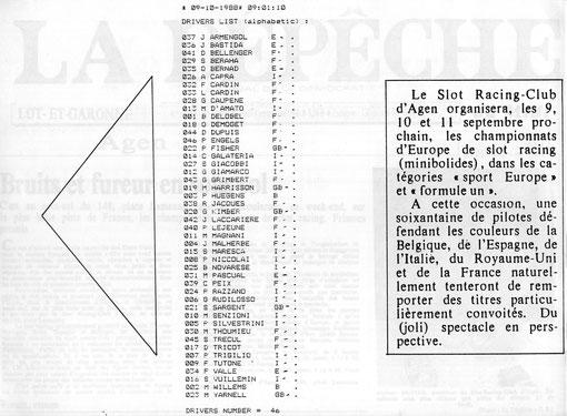 Liste des compétiteurs engagés aux championnats d'Europe de slot racing 1/32 de 1988 à Agen.