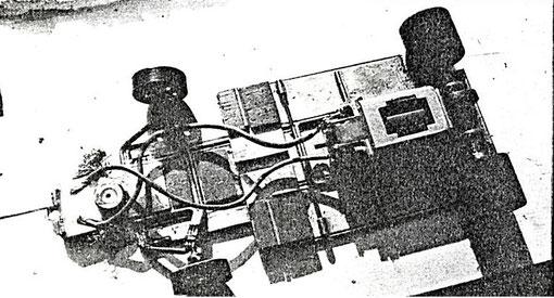 """Le châssis """"Tim Ryan"""" utilisé par Mick Harvey vainqueur du Grand Prix de Belgique de slot racing 1986"""