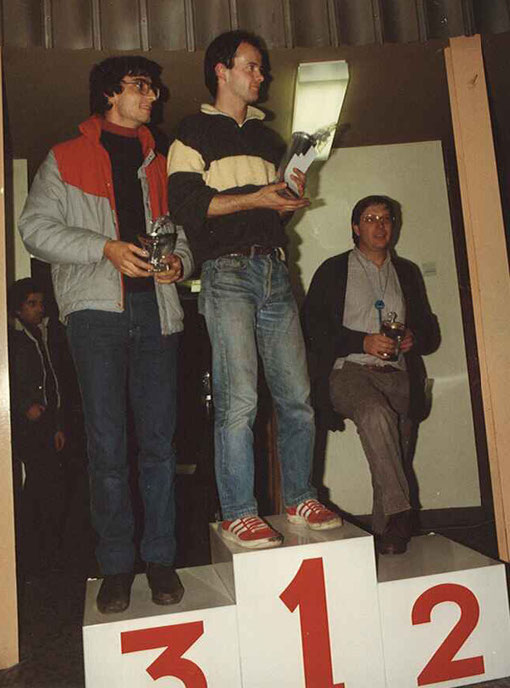 Podium Sport-Europe 1984: (3) Jean-Claude Malherbe (1) Laurent Cardin (2) Pierre Engels