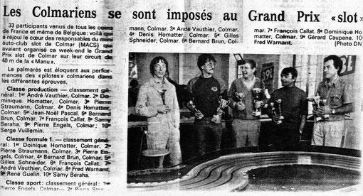 Le Grand Prix de Colmar 1984 dans la presse régionale.
