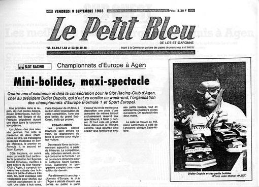 Didier Dupuis dans la presse régionale pour les championnats d'Europe slot racing 1/32 en 1988 à Agen