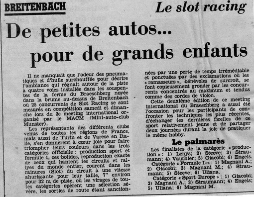 Slot racing de Munster Breitenbach dans la presse