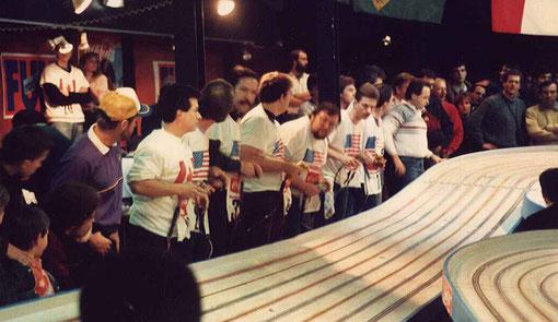 Les finalistes du championnat du monde de slot racing 1987.